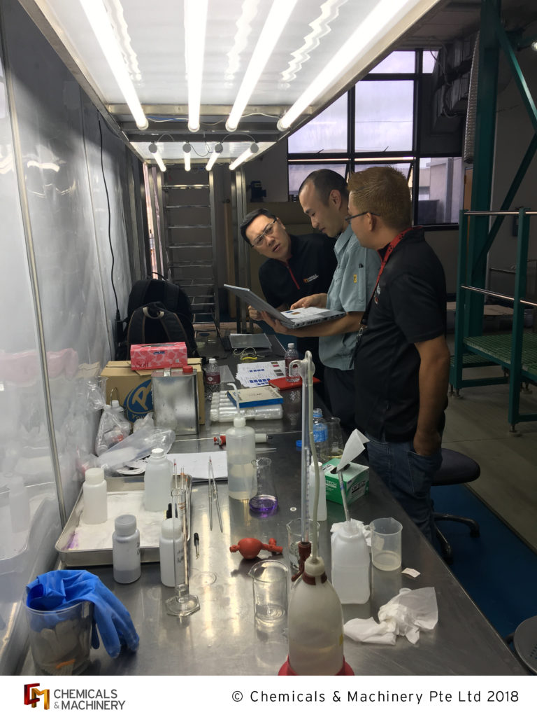 Our engineers and salesmen putting their best foot forward when analyzing their findings in our client's laboratory